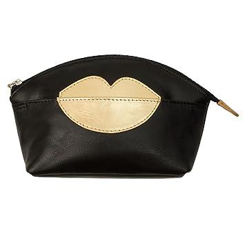 8d3a8cbc4c0e Amazon.com   ili New York Hot Lips Leather Cosmetic Makeup Case  (Black Gold)   Beauty