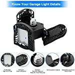 60W LED Garage Lights, Daylight White 6000K, 6000Lm, Deformable Lamp, Garage Ceiling Light with 3 Adjustable Panels, E26… 12