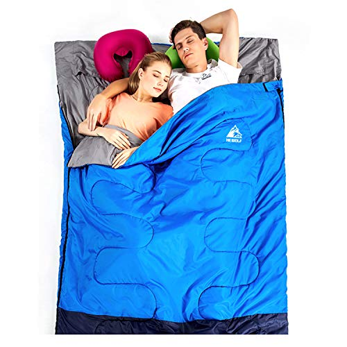Hewolf Camping Sleeping Bag Cold Weather Double Sleeping Bag Adult Envelope Sleeping Bag Waterproof Lightweight Extra Large Camping Quilt Portable Camping Gear Equipment with Compression Sack