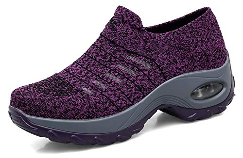 (Ezkrwxn Fashion Sneakers for Women Platform Shoes Mesh Breathable Comfort Walking Shoes Purple Size 7 (1873-Purple-37))