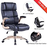 VANBOW High Back Memory Foam Leather Office Chair - Adjustable Tilt Angle and Flip-up Arms Executive Computer Desk Chair, Thick Padding for Comfort and Ergonomic Design for Lumbar Support, Black