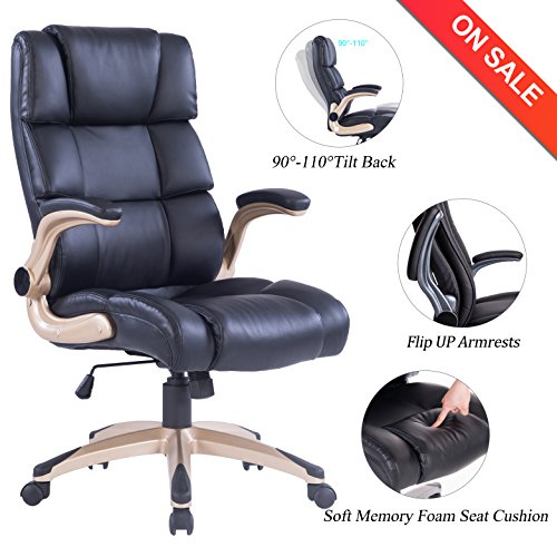 VANBOW High Back Office Chair – Ergonomic PU Leather Computer Desk Executive Chair, Adjustable Padded Flip-up Arms, Thick Memory Foam Seat Cushion & 360 Degree Rotation for Office Workers & Students