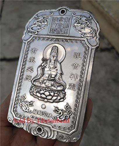chinese quan kwan yin sit lotus guanyin statue tibetan silver carved buddha pendant tibet amulet protective talisman churinga periapt calligraphy paperweight copper bronze china Avalokitesvara Bodhisattva
