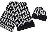 Kate Spade Womens Winter Knit Muffler Scarf & Beanie Hat Set Black/Cream