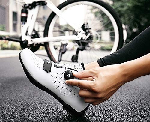 Fietsschoenen, Dames En Heren Antislip Ademende Powerfietsschoenen Mountainbike Schoenen Buitensporten Reizen,White,41 EU / 7 UK PmeyaLYa