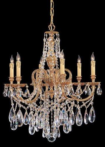 Crystorama Lighting Group 2706-OB-CL-SAQ Olde Brass / Swarovski Spectra Novella 6 Light Candle Style Crystal Chandelier