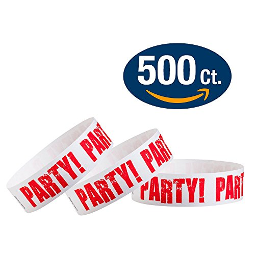 "WristCo Red Party 3/4"" Tyvek Wristbands - 500 Pack Paper Wristbands For Events"