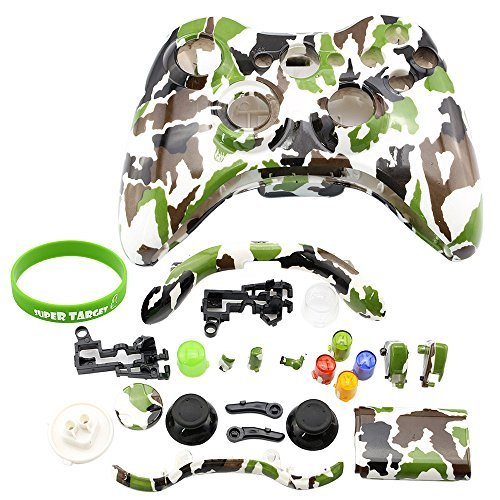 Xbox 360 controller parts amazon super controller shell case cover replacement kit for xbox 360 w button set camo ccuart Image collections