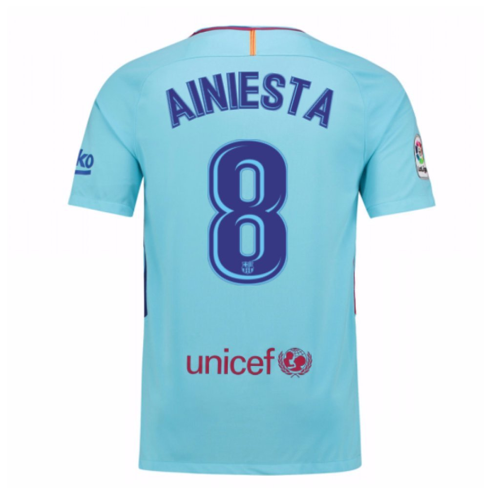2017-2018 Barcelona Away Football Soccer T-Shirt Trikot (Andres Iniesta 8) - Kids