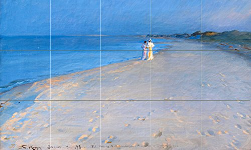 Tile Mural Ladies on the beach by Peder Severin Kroyer Kitchen Bathroom Shower Wall Backsplash Splashback 5x3 6'' Ceramic, Glossy by FlekmanArt