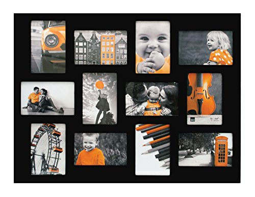 Kiera Grace Wood Napa Collage Picture Frame, 18 by 24-Inch, Holds 12 Photos, Black -