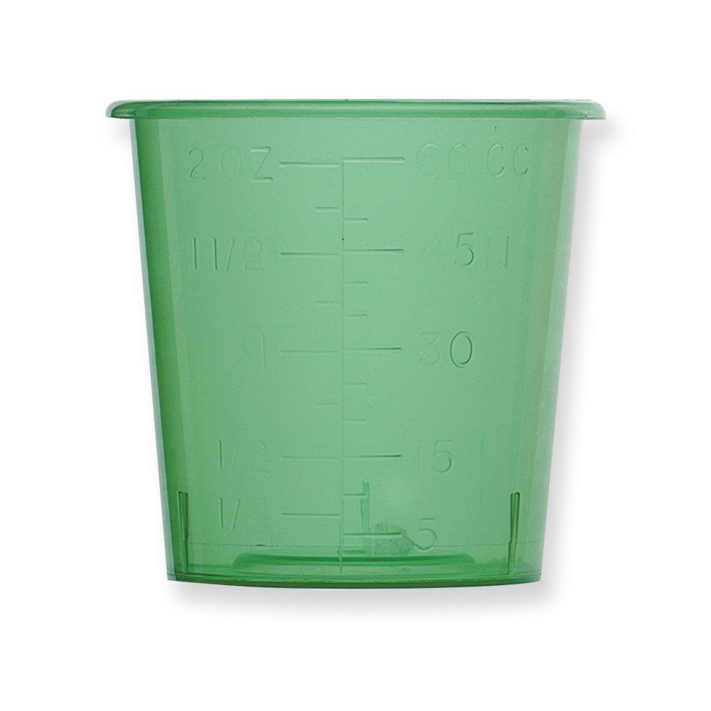 Qosina 73062 Green Polypropylene Medicine Cup, 57.3gm Capacity (Pack of 25)