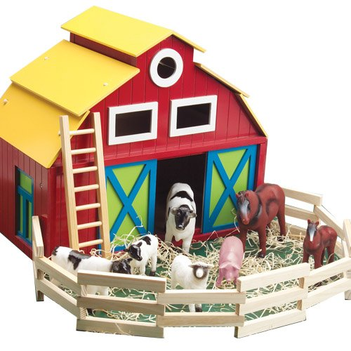 Constructive Playthings CPX-061 Big Wooden Barn Play Set with Farm Animals, Grade: Kindergarten to 3