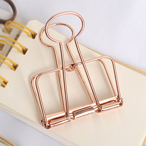 Rose Gold Hollow Metal Wire Clips Pack 12