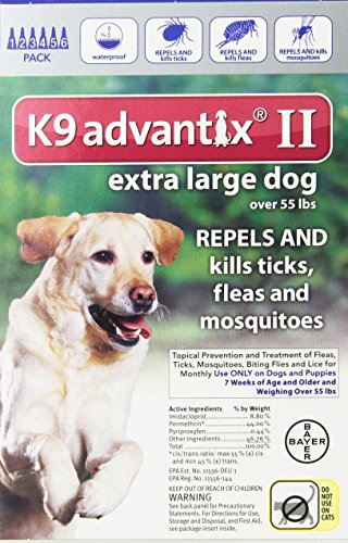 Bayer K9 Advantix II, Flea And Tick Control Treatment for Dogs, Over 55 Pound, 6-Month Supply