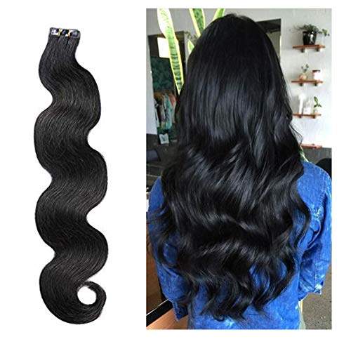 Popular #1B Natural Black Body Wave Invisible Tape in Human Hair Extensions 20 Pieces Per Package Seamless Double Sided Glue in Wavy Extensions 40gram ()