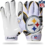 NFL Pittsburgh Steelers Youth Receiver Gloves,White,Medium