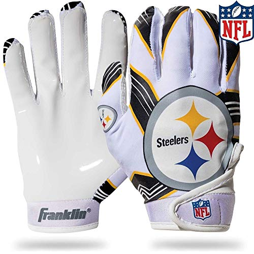 Franklin Sports NFL Pittsburgh Steelers Youth Football Receiver Gloves - Medium/Large -
