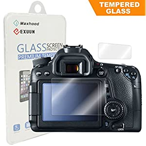 Canon EOS 80D / 70D Tempered Glass Screen Protector, Exuun Optical 9H Hardness 0.3mm Ultra-Thin DSLR Camera LCD Tempered Glass With Shoulder Screen Protector for Canon 80D 70D Digital Camera