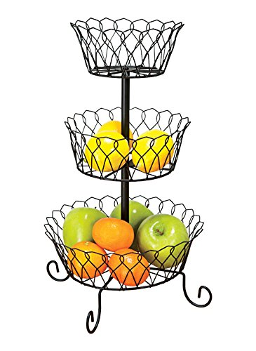 3-Tier Wire Basket (Metal Fruit Basket Stand)