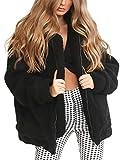 BerryGo Women's Faux Lambswool Fluffy Teddy Bear Coat Outwear Light Black,M