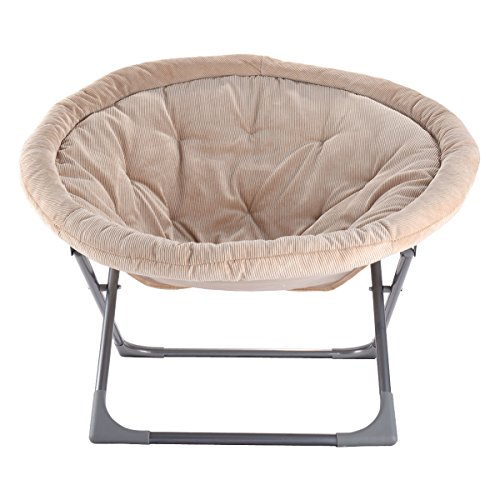 Giantex Oversized Large Folding Saucer Moon Chair Corduroy Round Seat Living Room Game And Rec