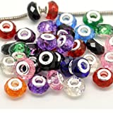 Ten (10) Pack of Assorted Faceted Acrylic Beads For Snake Chain Charm Bracelet