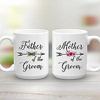 Mother and Father of the Groom Wedding Gift Mug Set, 2 Large 15 oz Coffee Mugs