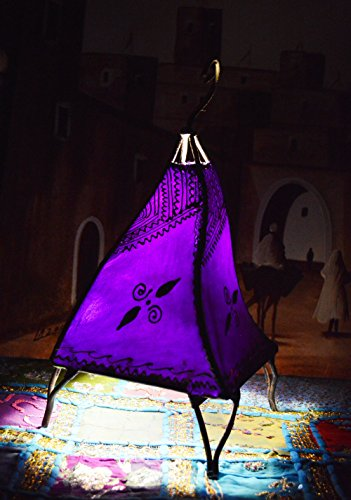 (Henna Lamps & Sconces Moroccan Hand made Leather lamp henna tattoo African Purple)