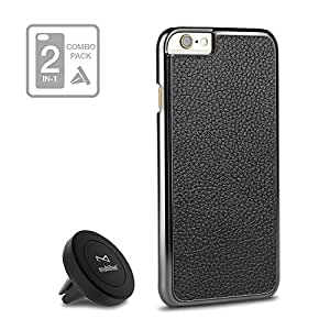 multifun Universal Air Vent Magnetic Car Mount Holder Kit with iPhone 6s Plus Case Metal Plate 2 Round for Smartphones Black+Black