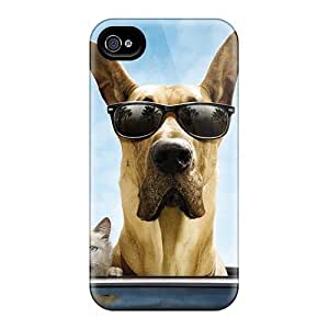4/4s Scratch-proof Protection Case Cover For Iphone/ Hot Cat And Dog Funny Phone Case