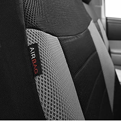 CAR PASS 6PCS Super Universal Fit Front Car Seat Covers Set Package-Fit for Vehicles,Black and Gray with Composite Sponge Inside,Airbag Compatible: Automotive