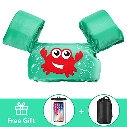 (AmazeFan Kids Swim Life Jacket Vest for Swimming Pool, Swim Aid Floats with Waterproof Phone Pouch and Storage Bag, Suitable for 30-50 lbs Infant/Baby/Toddler)