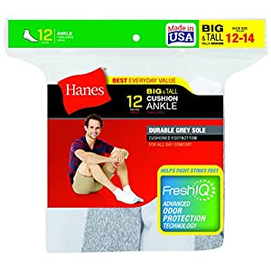 Hanes Men's FreshIQ Ankle Socks - Shoe Size:12-14 - White, (Pack of 12)