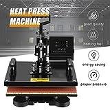 SUNCOO Heat Press Machine Swing Away Digital Sublimation Heat Pressing Transfer Machine for T-Shirt/Mug/Hat Plate/Cap (12x15, 5in1)