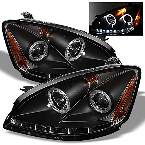 For Nissan Altima Black Bezel Dual Halo Ring DRL Daylight LED Strip Projector Headlights Replacement