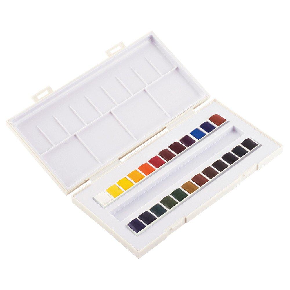 Sennelier La Petite Aquarelle Watercolor Paint Set - 24 Half Pan Plastic Tray With Elastic Hand Strap - Student Grade Watercolor Paint Set - [24 Half Pans]