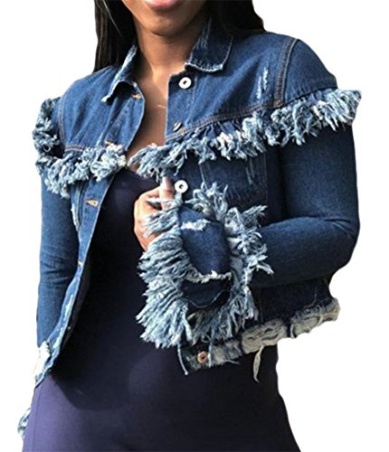 Cromoncent Womens Denim Overcoat Long Sleeve Tassel Cut Off Ripped Hole Leisure Washed Jacket Dark Blue XL by Cromoncent