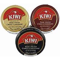 Kiwi Paste - Pulidor para zapatos, color marrón oscuro, negro, neutro, 40 g (paquete de 3)