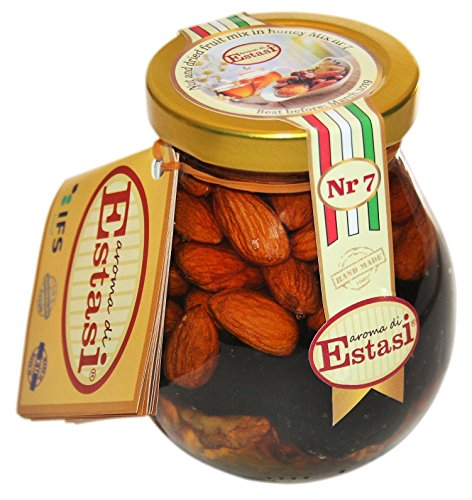 Deliciously mixed nuts and dried fruit in acacia honey - 100% Pure Natural - Unpasteurised - Handmade - Ideal sweet Gift - Healthy luxury Mix Nr 7