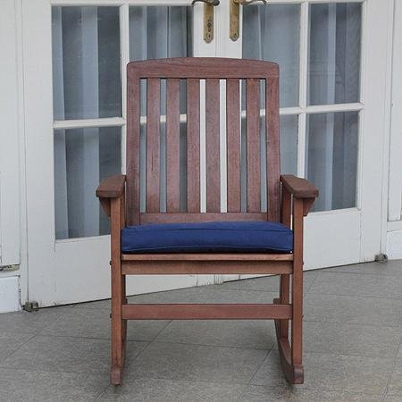 Contoured Seat and Back for Added Comfort, Constructed from Solid Hardwood, Delahey Porch Rocking Chair, Light Brown