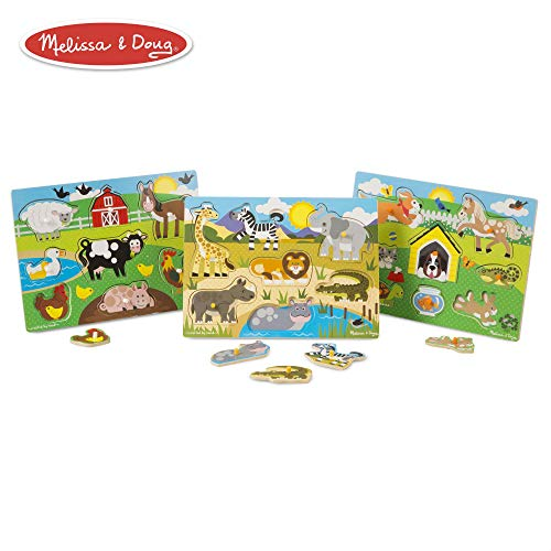 (Melissa & Doug World of Animals Wooden Peg Puzzles Set - Pets (8 Pieces), Farm (8 Pieces), Safari (7 Pieces))