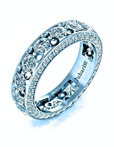 (4.52 Ctw. Eternity Band Round Diamond Infinity-Ribbon Tension Set White Gold Anniversary Wedding Ring Handmade Custom Jubariss Fine Jewelry)