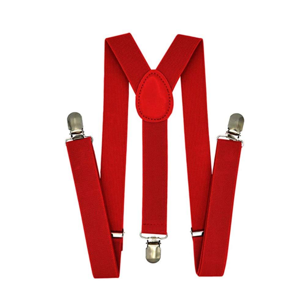 Ndier Enfants Garçons Pantalons bébé réglable bretelles dos élastique et clips forts Bracelet (Rouge) Vêtements/Accessoires