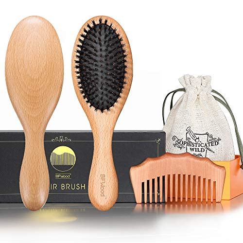 BFWood Pure Boar Bristle Hair Brush and Comb for Fine Thin Hair