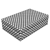 Lunarable Black and White Pet Bed, Fish Scale Pattern Half Circles Arching Lines Design Semicircular Shapes, Animal Mat Foam and Stylish Printed Cover, 24'' x 16'' x 6'', Black White