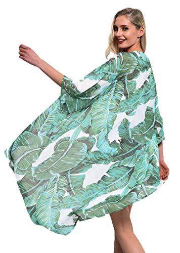 soul young Women#039s Floral Beach Cover up Kimono Swimsuit Cardigan Beachwear for BikiniXLGreen Leaf