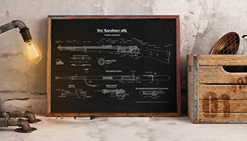 UpCrafts Studio Design Mauser K98 Rifle Black Color Patent Print Wall Art Decor - Size 11.7x16.5 - Military Shop Decorations for Sell More Grow Big Sales Talisman Mascot Amulet Charm Militaria -