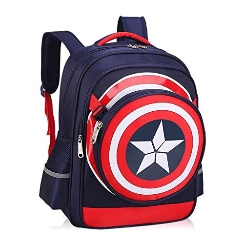 Bacore Superhero Backpack for School 3D Logo Design 19L Large Capacity Recommended for Ages 5 and Up Two Spacious Compartments Two Side Pockets Ideal for Gift Elementary School Backpack (SH06)