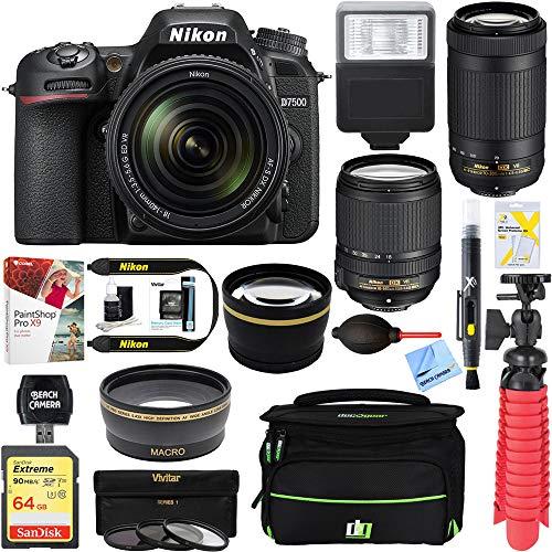 Nikon D7500 20.9MP DX-Format Digital SLR Camera + AF-S 18-140mm & 55-300mm ED VR Lens + Accessory Bundle